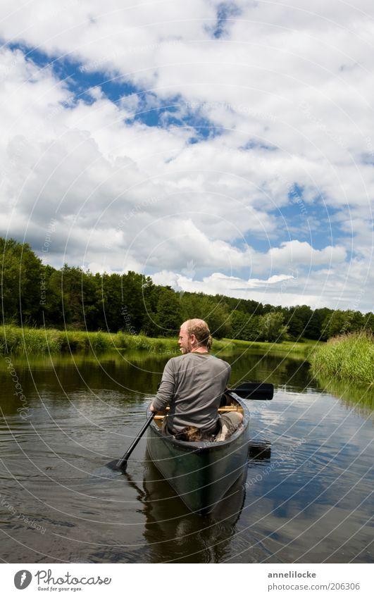 Paddeltour mit Hund Freizeit & Hobby Kanutour Kanadier Ferien & Urlaub & Reisen Tourismus Ausflug Abenteuer Sommer Sommerurlaub Wassersport Junger Mann