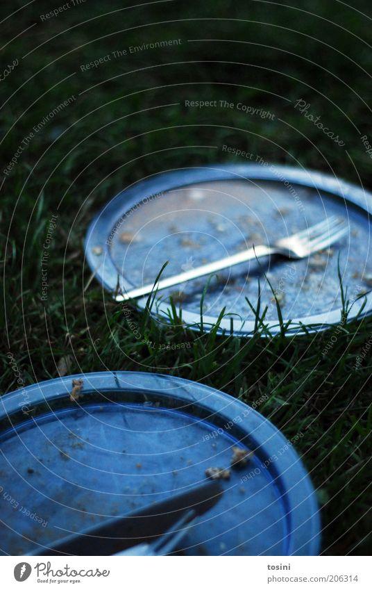 grill & chill Wiese blau grün Teller Ernährung leer Gabel Besteck dreckig Messer Rest Sommer 2 Abendessen Mittagessen Appetit & Hunger Tellerrand Unschärfe