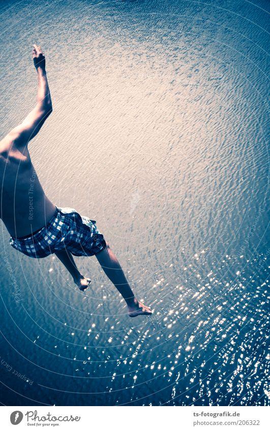 Hundstage II Mensch Jugendliche blau Wasser Ferien & Urlaub & Reisen Meer Sommer Wärme springen See Wellen Körper Rücken Freizeit & Hobby Schwimmen & Baden