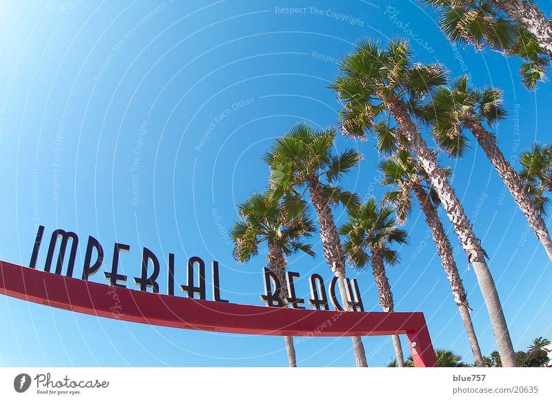 Imperial Beach Himmel grün blau rot USA Schriftzeichen Freizeit & Hobby Buchstaben Palme Schönes Wetter Symbole & Metaphern Kalifornien