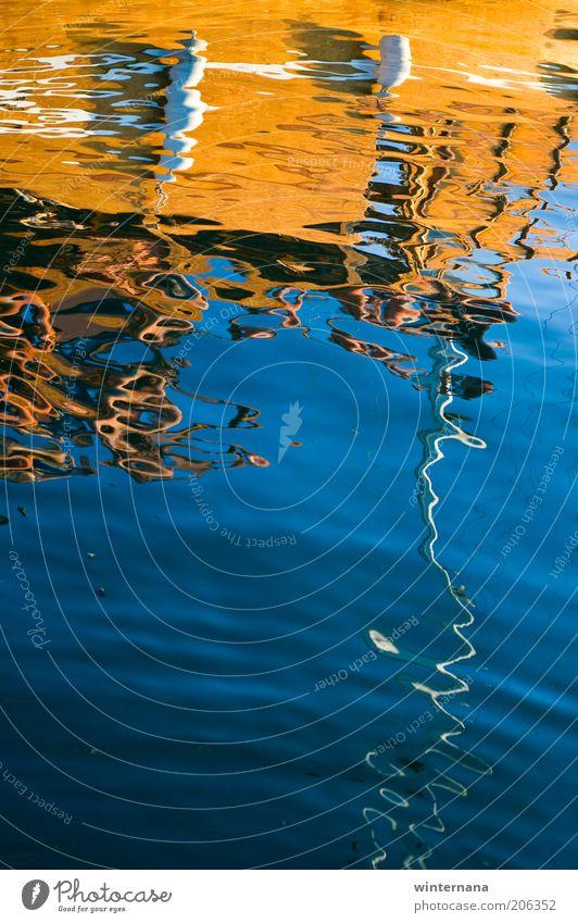 Verspiegeltes Boot Umwelt Himmel Sonnenlicht Sommer Wellen Küste Nordsee Bootsfahrt Segel An Bord schön einzigartig nass blau mehrfarbig weiß Glück Euphorie