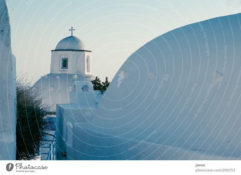 Glaube und Hoffnung alt blau ruhig Haus Wand Mauer Gebäude hell Hoffnung ästhetisch Kirche Romantik Dach Christliches Kreuz Glaube Griechenland