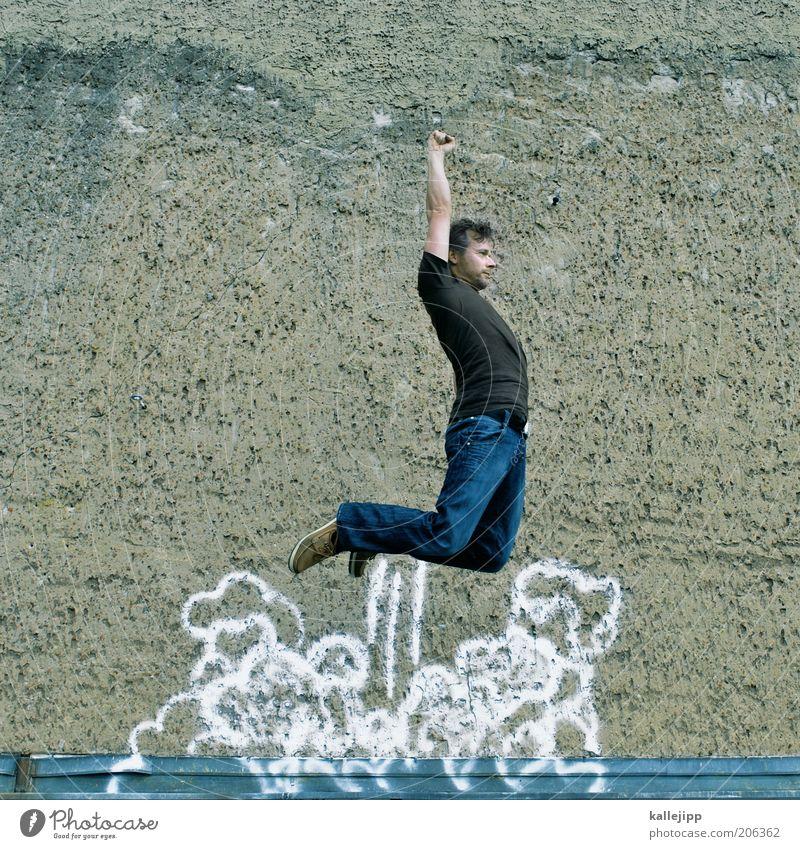 ¡Adios Amigos! Mensch Mann Erwachsene Wand Graffiti springen Mauer Körper Kraft fliegen maskulin Erfolg Macht Show T-Shirt Kultur