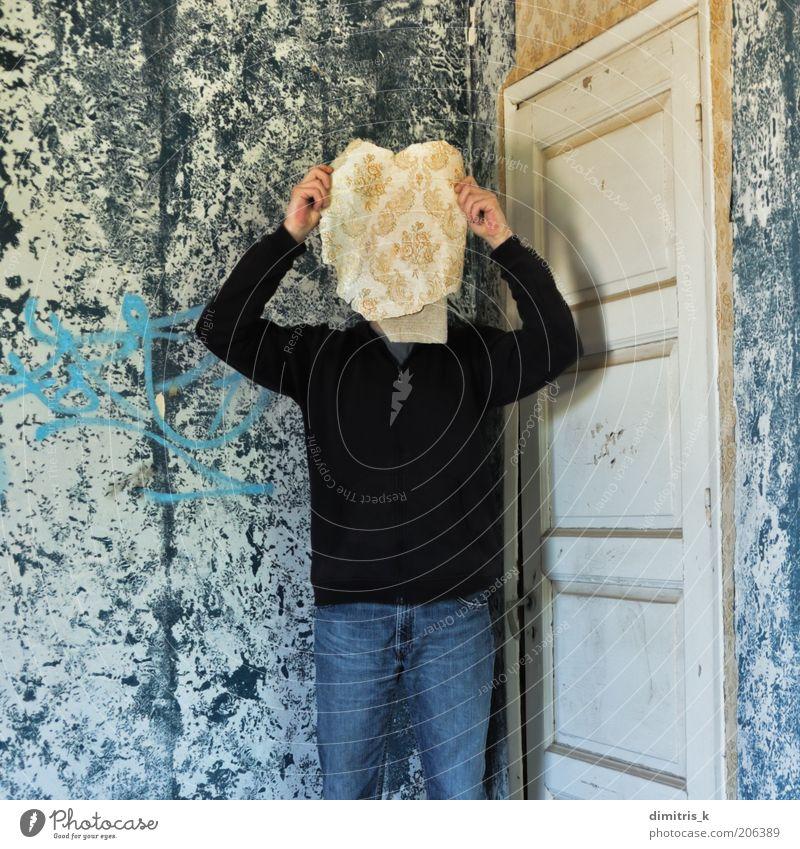 Speichermaske Gesicht Tapete Raum Mensch Mann Erwachsene 1 Ruine Gebäude Mauer Wand Tür Papier alt retro blau Nostalgie Surrealismus Verfall Zeit räumlich