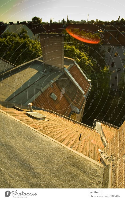 Ich weiß... Abend Berlin Dach Hauptstadt Skyline Sommer Stadt Hof Hinterhof Stadthaus Haus Architektur dachschaden Blendenfleck Überblick Aussicht Sonnenlicht