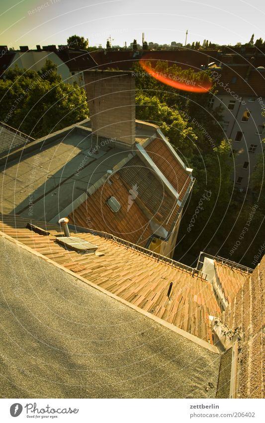 Ich weiß... Stadt Sommer Haus Berlin Architektur Aussicht Dach Skyline Hinterhof Hauptstadt Hof Stadthaus Blendenfleck Deutschland