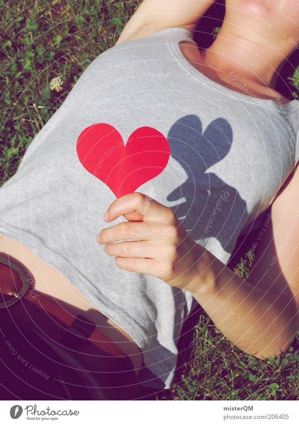 Herzensangelegenheit. Frau Jugendliche rot Sommer Liebe feminin Gefühle träumen Herz ästhetisch Romantik Verliebtheit Partnerschaft Leben Mensch Liebeskummer