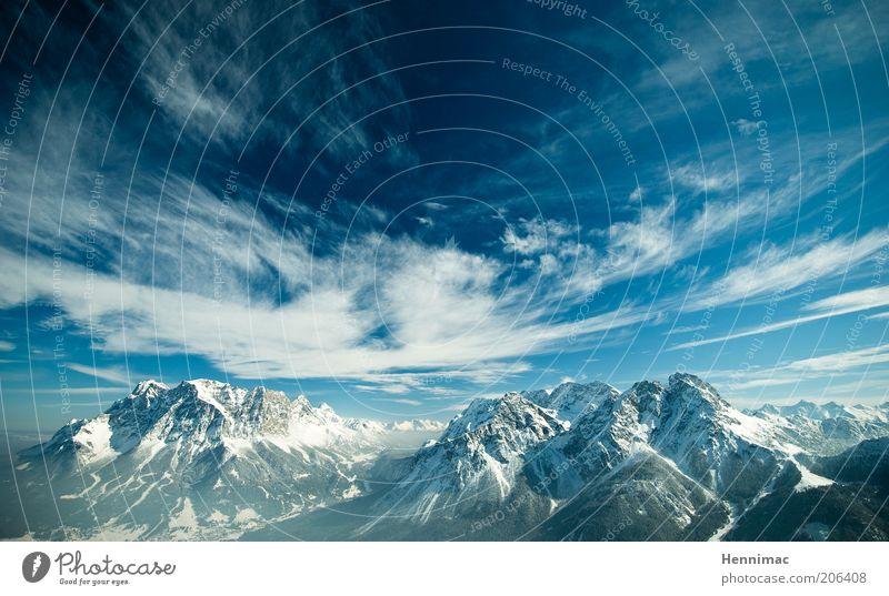3. Schöpfungstag I. Natur schön Himmel weiß blau Winter Ferien & Urlaub & Reisen Wolken Ferne kalt Schnee Berge u. Gebirge Freiheit Landschaft Horizont Klima