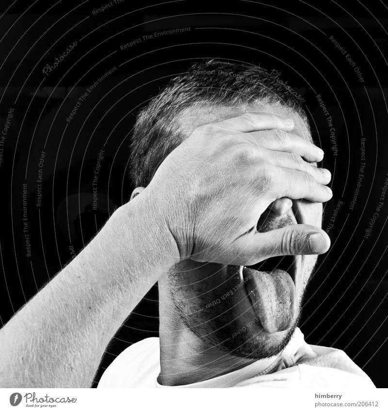 die totale enttäuschung Mann Hand Jugendliche Gesicht Leben Gefühle Haare & Frisuren Kopf Mund Stimmung lustig Erwachsene maskulin geschlossen leer Gesichtsausdruck
