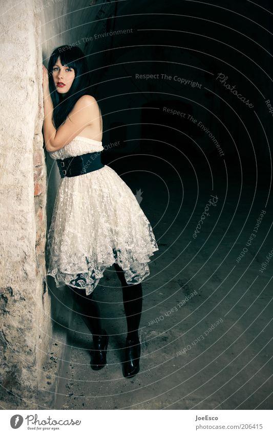 sometimes in our lives... Lifestyle elegant Stil schön Frau Erwachsene 18-30 Jahre Jugendliche Tunnel Mauer Wand Mode Kleid Stiefel schwarzhaarig stehen