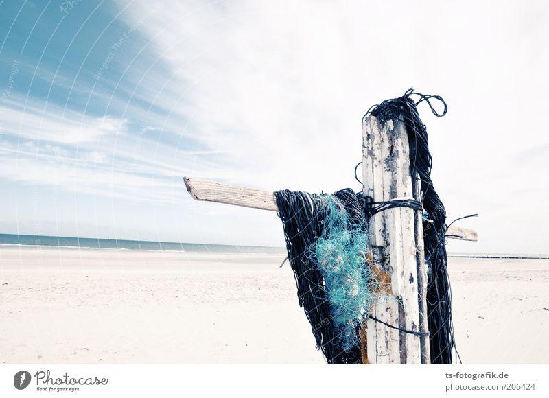 Jesus kam nur bis Wangerooge Wasser Himmel weiß Meer blau Sommer Strand Ferien & Urlaub & Reisen schwarz Wolken Holz Sand Wellen Horizont Insel Tourismus