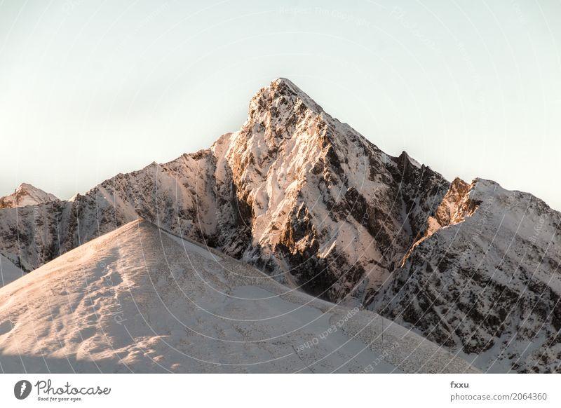 Bergspitze Klettern Bergsteigen wandern Natur Landschaft Wolkenloser Himmel Winter Schönes Wetter Schnee Schneefall Hügel Alpen Berge u. Gebirge Gipfel