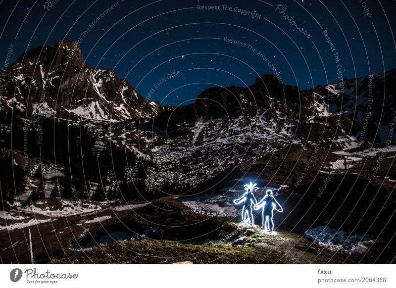 Licht Graffiti Paar Lichtmalerei Lichteffekt Liebe Romantik lustig Mann Frau Stern Sternenhimmel Stern (Symbol) Berge u. Gebirge Langzeitbelichtung