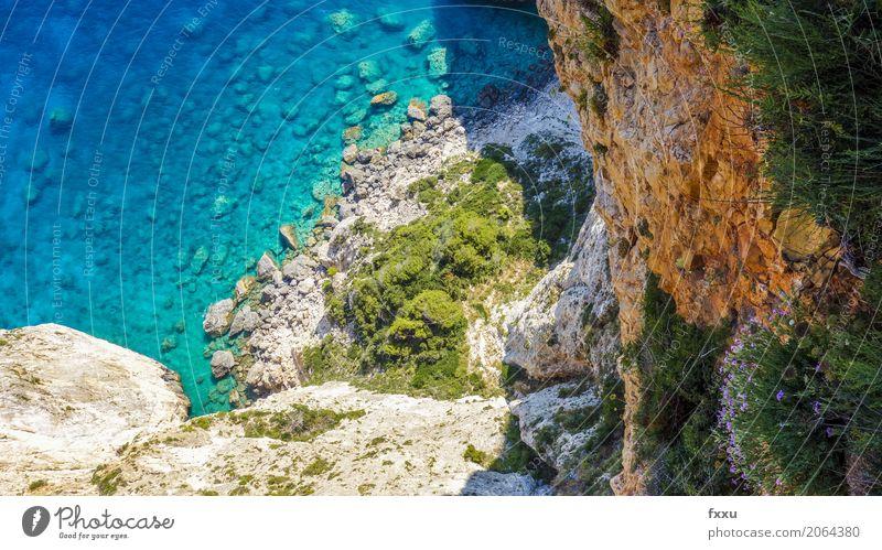 Klippe in Zakynthos Griechenland Ferien & Urlaub & Reisen Sommer Meer Insel Zakinthos Felsen Wasserfahrzeug Landschaft blau Küste Kreta Natur Idylle Mittelmeer