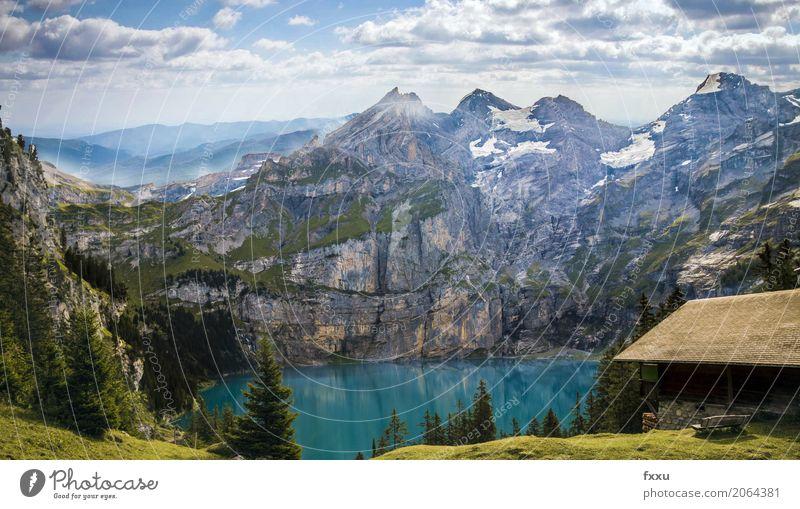Holzhütte vor dem Oeschinensee See Berge u. Gebirge Landschaft Natur kandersteg Schweiz blau Alpen Himmel Abenddämmerung wallpaper Blauer Himmel