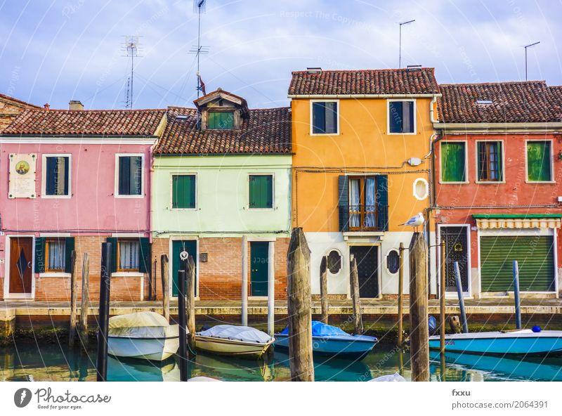 Bunte Häuser in Venedig Murano Italien Europa Kleinstadt Stadt Menschenleer Haus Traumhaus Gebäude Architektur Bootsfahrt Fischerboot Ferien & Urlaub & Reisen