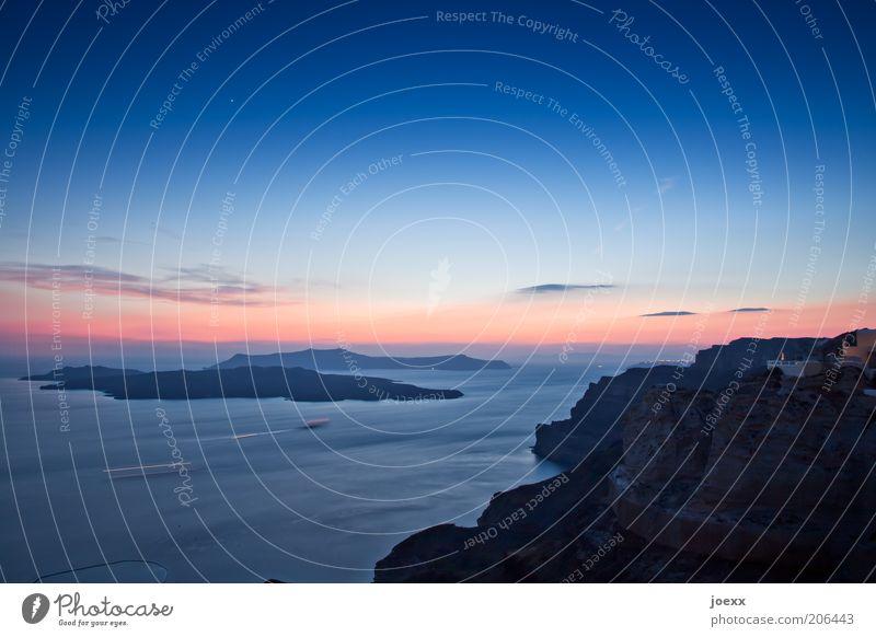 Palea und und Nea Kameni Natur Himmel Meer blau rot Sommer ruhig Ferne Erde Horizont Insel Romantik Idylle Schönes Wetter Abenddämmerung Griechenland