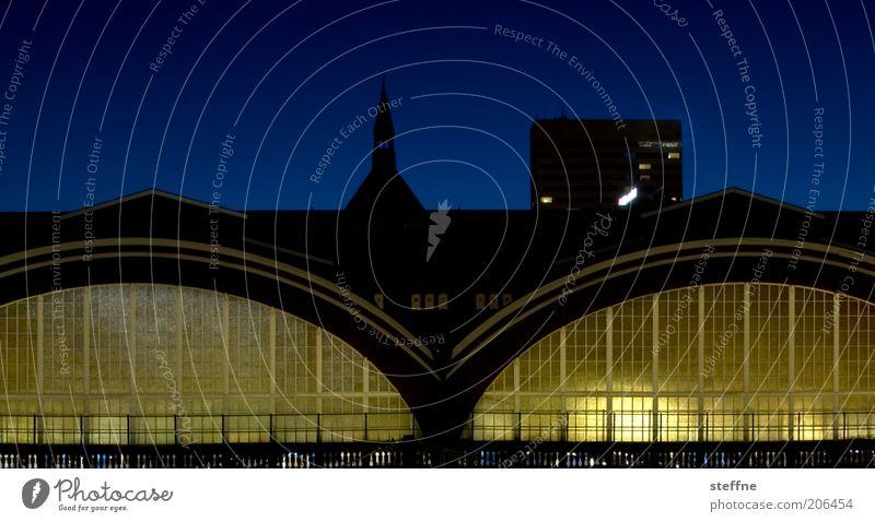 Endstation Halbfinale Kopenhagen Stadt Hauptstadt Verkehr Schienenverkehr Bahnhof Bahnhofshalle leuchten ruhig Langzeitbelichtung Farbfoto Außenaufnahme Nacht