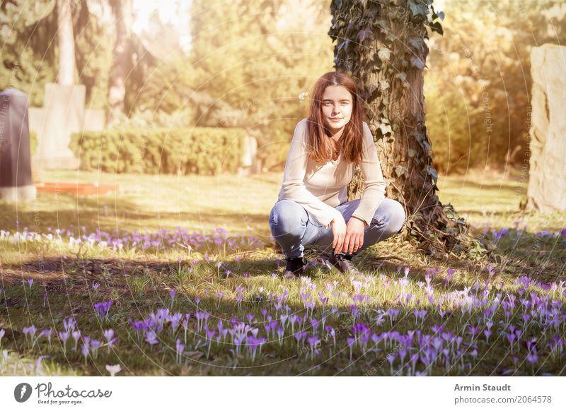 Frühling Lifestyle Freude schön Leben harmonisch Zufriedenheit Sinnesorgane ruhig Meditation Mensch feminin Junge Frau Jugendliche 1 13-18 Jahre Schönes Wetter