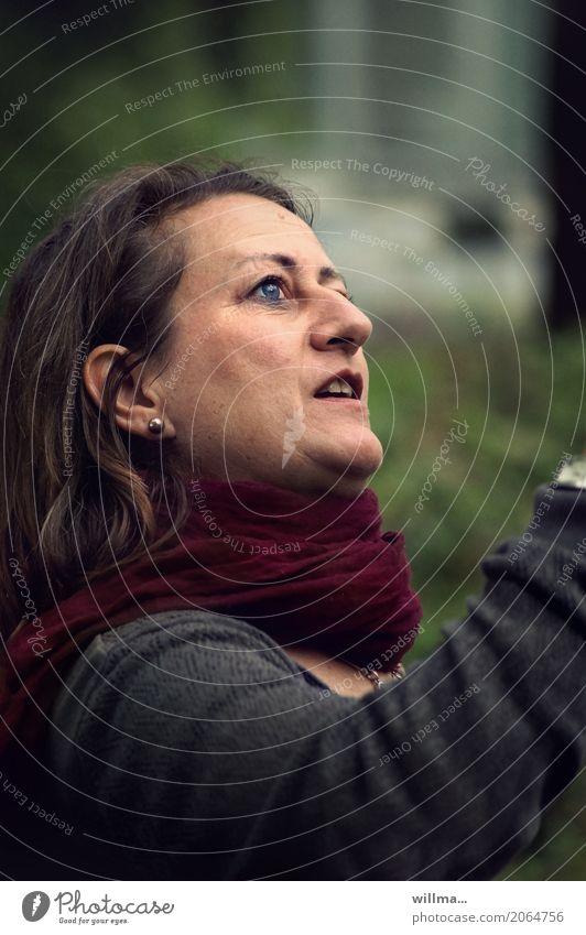 bit.it auf entdeckertour | AST10 Frau blau Freude Erwachsene feminin entdecken brünett Interesse Schal Ohrringe staunen Augenfarbe Offener Mund
