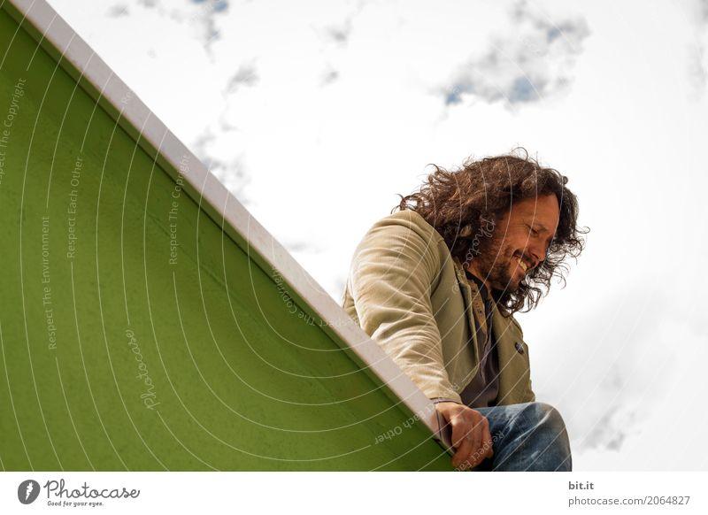 AST10 | 4000eraussichten sind da was andres Mensch Mann Erwachsene Wand lachen Glück Mauer Zufriedenheit maskulin Aussicht sitzen Fröhlichkeit Lebensfreude