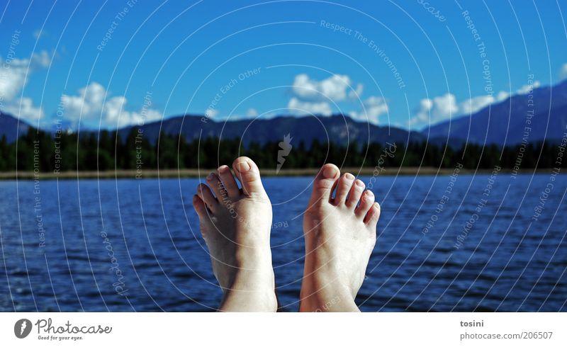 relax Mensch Fuß Zehen Zehennagel 1 Schwimmen & Baden Berge u. Gebirge Wasser See Seeufer Wolken Wolkenhimmel Baum Sommer Erholung blau Ferien & Urlaub & Reisen