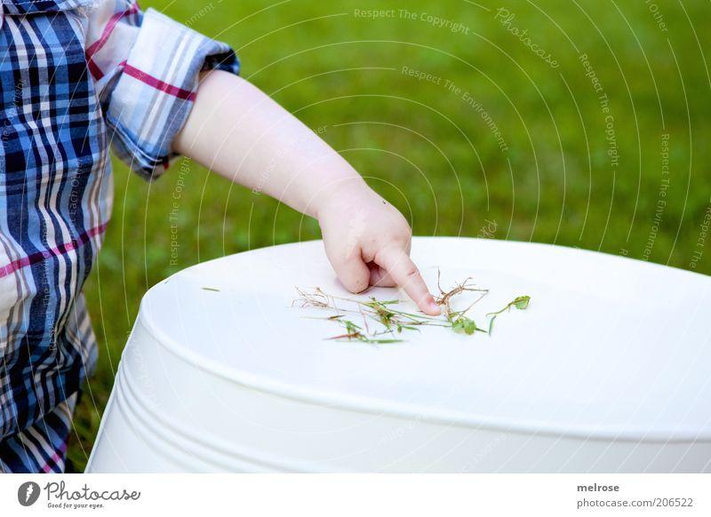 da schau her ... Kind Kleinkind Arme Finger 1 Mensch 0-12 Monate Baby berühren entdecken lernen Neugier Gefühle geduldig Interesse Erfahrung Glück Inspiration