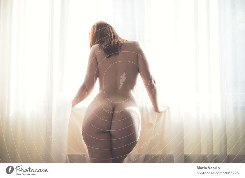 Gegenlicht Mensch feminin Frau Erwachsene 1 18-30 Jahre Jugendliche rothaarig langhaarig träumen authentisch dick Erotik hell schön nackt natürlich Einsamkeit