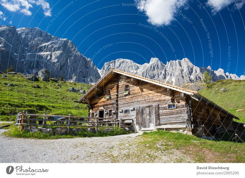 Berghütte Ferien & Urlaub & Reisen Tourismus Ausflug Expedition Sommerurlaub Berge u. Gebirge wandern Natur Landschaft Himmel Wolken Frühling Schönes Wetter