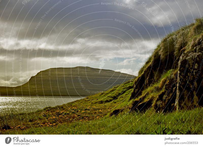 Färöer Umwelt Natur Landschaft Pflanze Wasser Himmel Wolken Klima Gras Hügel Felsen Berge u. Gebirge Meer Atlantik Tórshavn Føroyar natürlich Stimmung