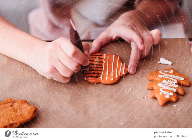 Mädchen, das Weihnachtslebkuchenplätzchen mit Schokolade verziert Dekoration & Verzierung Tisch Feste & Feiern Mensch Hand 1 machen Tradition backen Biskuit