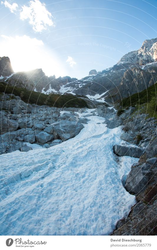 Gletscher Ferien & Urlaub & Reisen Abenteuer Expedition Berge u. Gebirge wandern Natur Landschaft Himmel Frühling Sommer Herbst Schönes Wetter Felsen Alpen