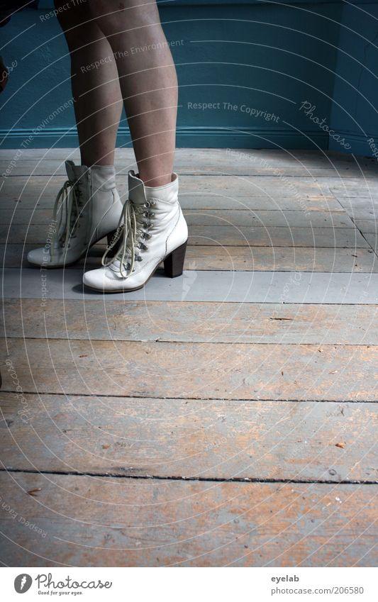 These boots are made... Mensch feminin Frau Erwachsene Jugendliche Haut Beine Fuß 1 elegant frech frisch hoch weiß Mode Schuhe Stiefel Schuhabsatz Schuhbänder