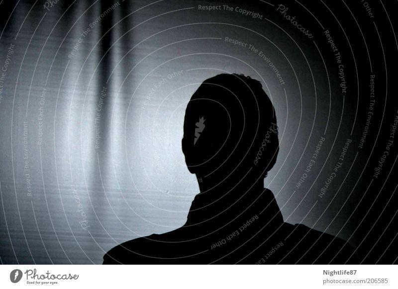 Lichtlosigkeitsabbild Mensch Mann weiß schwarz dunkel Kopf warten Erwachsene Show geheimnisvoll Kino anonym unheimlich Projektionsleinwand Nacht gesichtslos