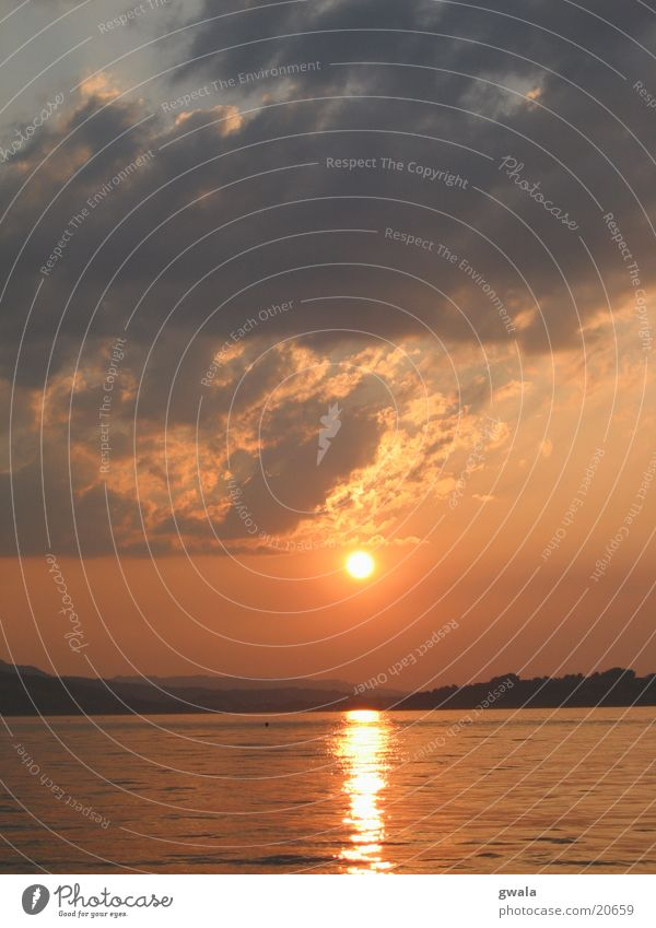 sunsetmontag Wasser orange Abendsonne Vierwaldstätter See