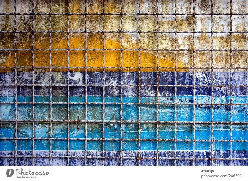 Hinter Gittern alt blau gelb Linie Metall Hintergrundbild kaputt Wandel & Veränderung Vergänglichkeit Streifen Verfall Zaun Raster Barriere