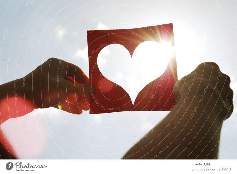 What a beautiful day. Himmel Hand rot Sonne Sommer Liebe Gefühle Herz modern Symbole & Metaphern aufwärts himmlisch Mensch Reflexion & Spiegelung Natur Lust