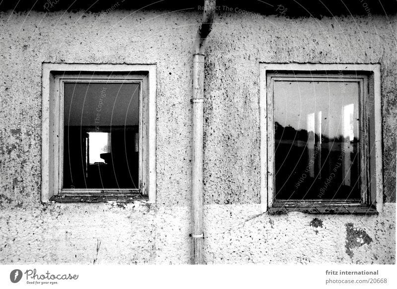 2Fenster Fassade dreckig Putz Regenrinne trist Durchblick Architektur Trauer Verzweiflung alt Riss Schwarzweißfoto