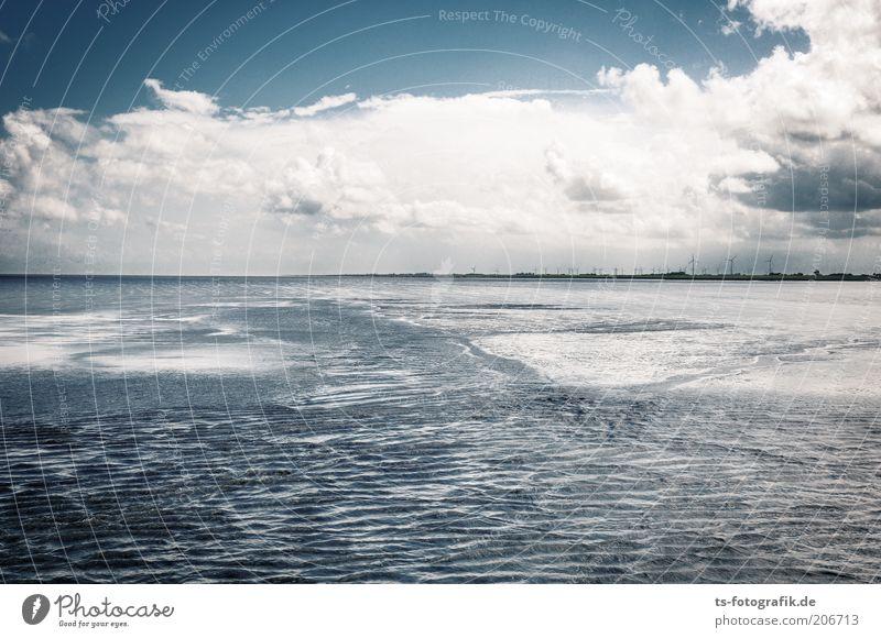 Gezeiten-Spielplatz II Wasser Himmel weiß Meer blau Strand Wolken Ferne Erholung Freiheit Wellen Küste frei Horizont Erde Energiewirtschaft