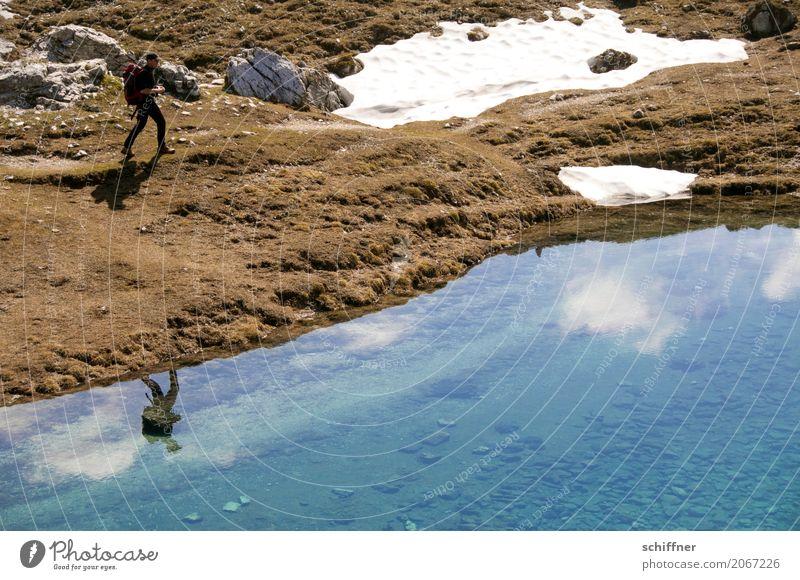 Doppelgänger Mensch maskulin Mann Erwachsene 1 Umwelt Natur Landschaft Himmel Wolken Schnee Felsen Alpen Berge u. Gebirge gehen wandern Schneedecke Gebirgssee