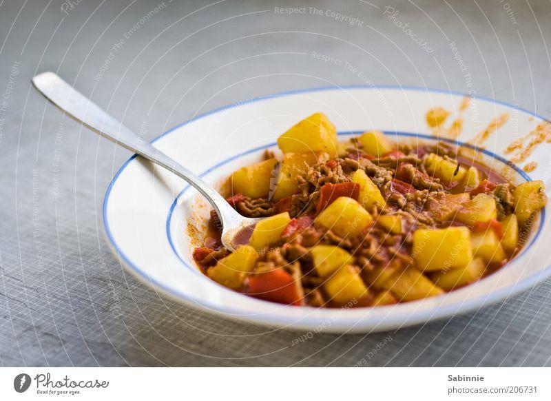 Jam jam jam rot gelb grau braun Ernährung Lebensmittel Gemüse Teller Abendessen Fleisch Mittagessen Besteck Löffel Suppe Paprika Kartoffeln