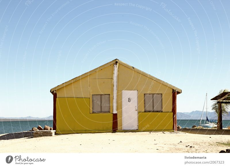 Ferien & Urlaub & Reisen Sommer Wasser Sonne Meer Haus Strand Küste Gebäude Freiheit Tourismus Schwimmen & Baden Sand Ausflug Tür Insel