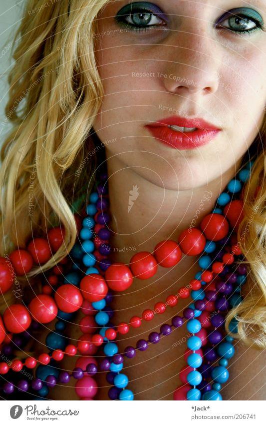 Lèvres Rouges Mensch blau rot feminin Stil Zufriedenheit blond Mund außergewöhnlich ästhetisch beobachten Lippen violett fantastisch Locken Schminke