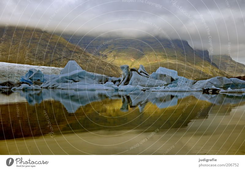 Island Umwelt Natur Landschaft Urelemente Wasser Wolken Klima Klimawandel Hügel Felsen Berge u. Gebirge Gletscher See außergewöhnlich dunkel natürlich wild