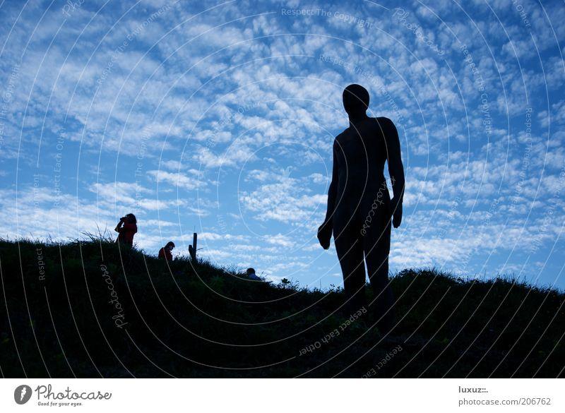 2039 Meter Freiheit Wissenschaften Kunst Skulptur Klima Klimawandel Zukunft Mensch Evolution bewegungslos bereit Perspektive Nacktscanner Erscheinung Silhouette