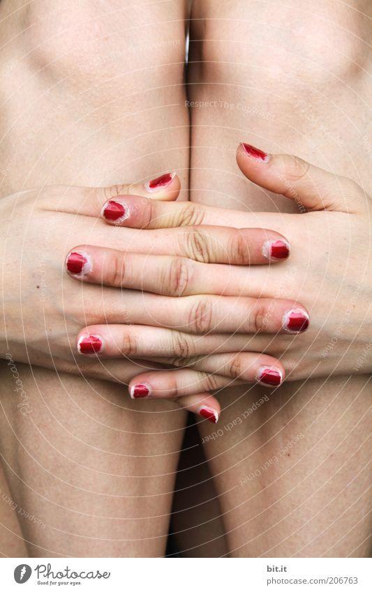 Knabberstangen Mensch Jugendliche Hand schön feminin Beine sitzen Haut Finger Junge Frau Körperhaltung dünn Kosmetik Fingernagel kreuzen gekreuzt