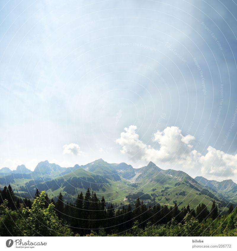 Gantrisch Himmel weiß grün blau Sommer Wolken ruhig Wald Erholung Berge u. Gebirge Zufriedenheit Hintergrundbild Ausflug Felsen Urelemente Hügel
