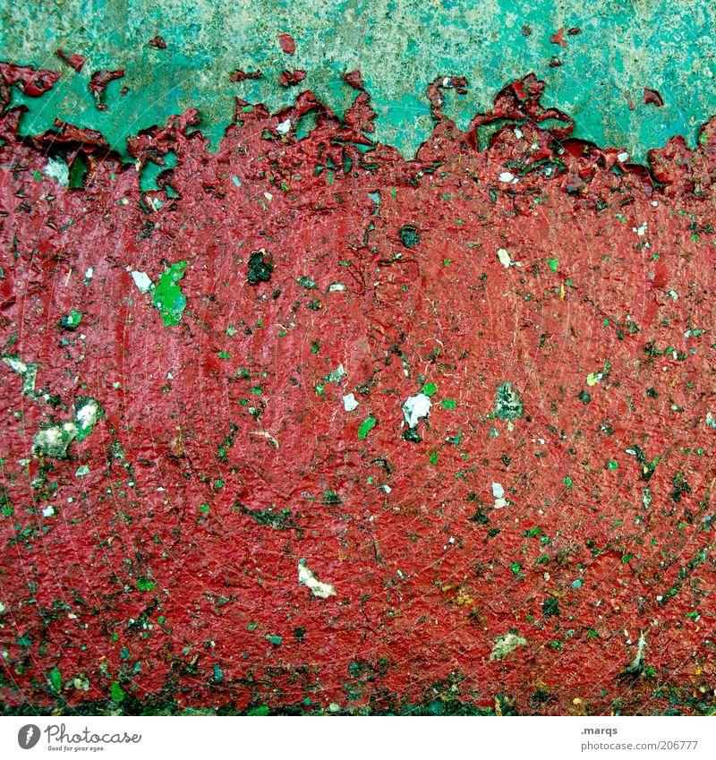 Abriss grün rot Farbe Wand Farbstoff Mauer dreckig Hintergrundbild Fassade einfach Wandel & Veränderung Verfall trashig Fleck Lack abstrakt