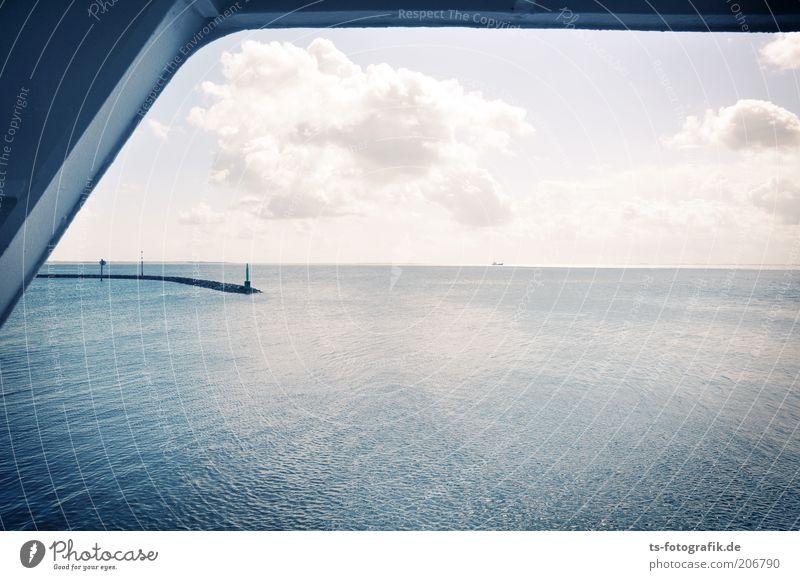 Seh-Fahrer Ferien & Urlaub & Reisen Tourismus Ferne Natur Urelemente Himmel Wolken Horizont Wetter Schönes Wetter Küste Nordsee Meer Nordseeküste Buhne Mole