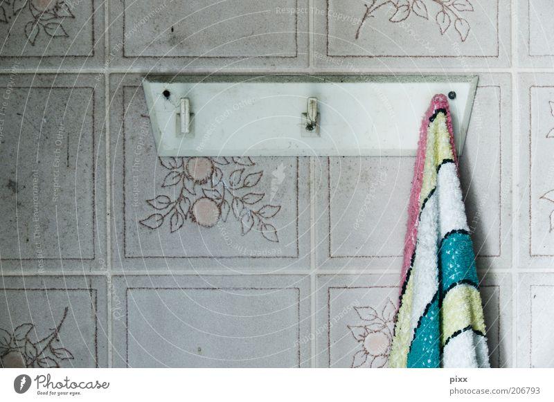 Kombinationsfreude Kunststoff hängen authentisch retro stagnierend Handtuch Handtuchhaken Küchenhandtücher PVC gestreift Farbfoto Innenaufnahme